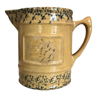 Antique Late 19th Century American Sponge Ware Yelloware Pitcher For Sale