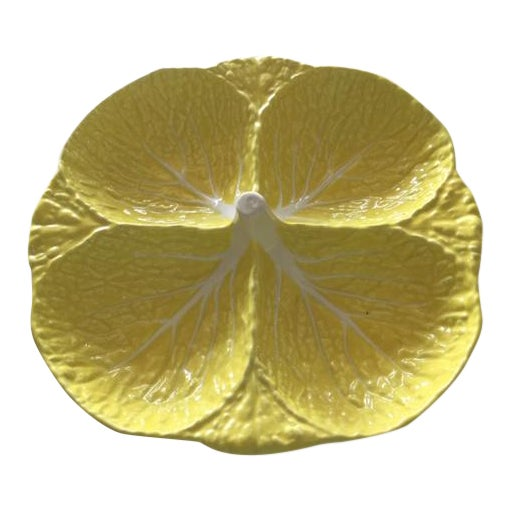Vintage Secla Yellow Cabbage Divided Dish, Made in Portugal For Sale