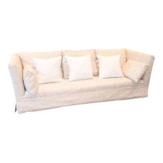 Olivia Linen Upholstered Sofa For Sale