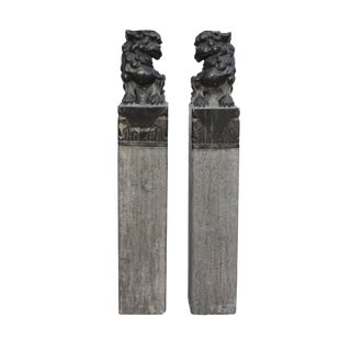 Chinese Pair Black Gray Stone Fengshui Foo Dogs Tall Slim Pole Statues For Sale