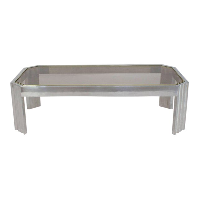 Aluminum Brass Glass Rectangular Coffee Table For Sale
