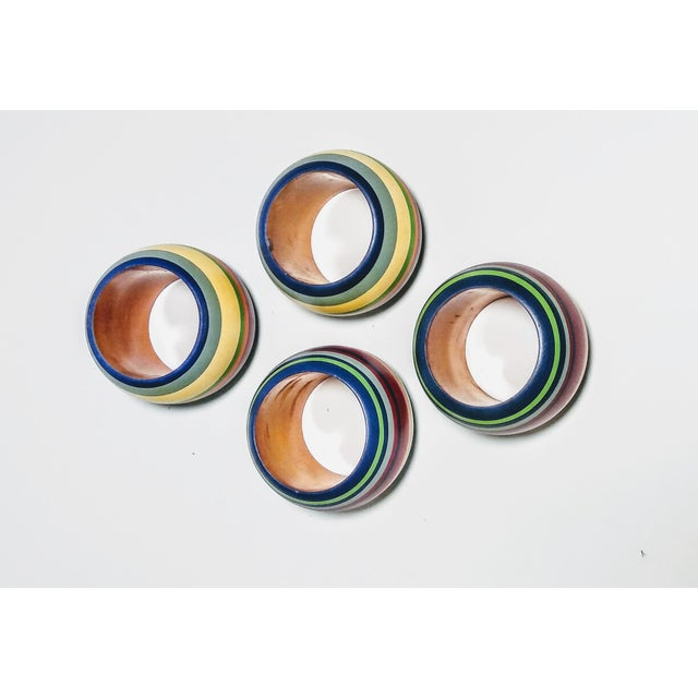 Vintage Round Multi Colored Striped Napkin Rings - Set of 4 For Sale - Image 6 of 6