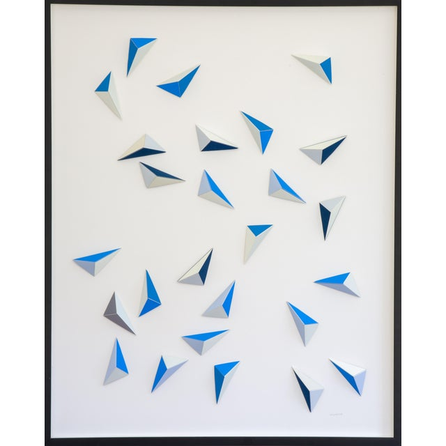Origami Blue Triangle Abstract Collage by Dawn Wolfe For Sale