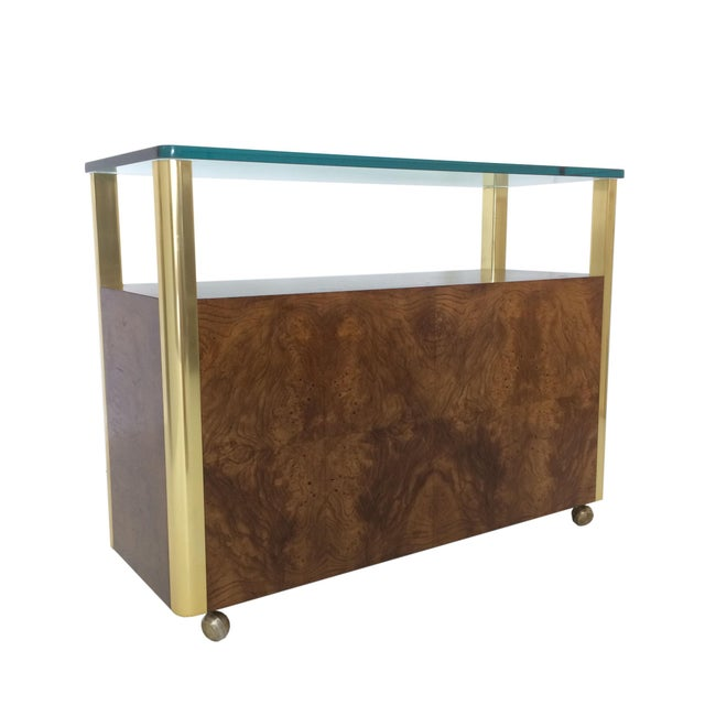 Mid-Century Modern Burled Wood & Brass Console by Century Furniture Company For Sale - Image 3 of 10