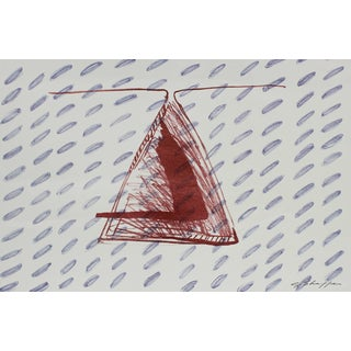 Gary Lee Shaffer Abstract Triangle Lithograph in Red and Blue, 1999 For Sale