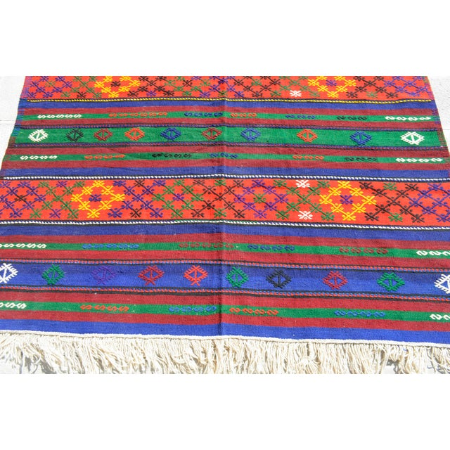 Blue Turkish Hand-Woven Kilim Rug - 5′10″ X 10′11″ For Sale - Image 8 of 10