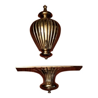 Early 20th Century Vintage Cast Iron Brass Wall Mount Fountain With Matching Wall Shelf Sconce For Sale