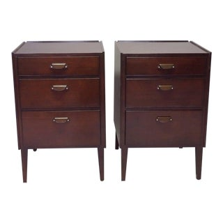 Pair of Edward Wormley for Dunbar Angle Front Nightstands For Sale