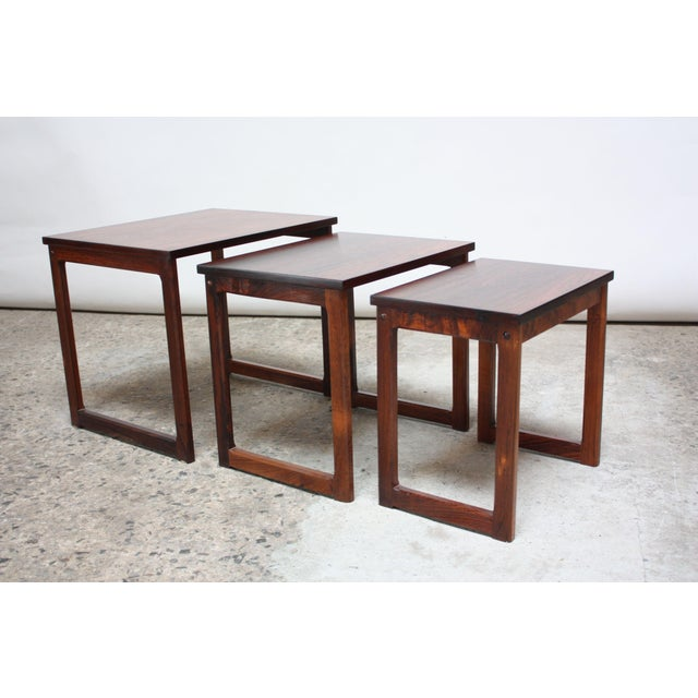 Trio of Danish Rosewood Nesting Tables For Sale In New York - Image 6 of 9