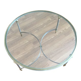 Vintage Neoclassical Glass,Brass and Brushed Steel Coffee Table For Sale