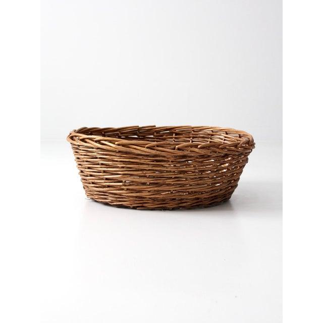 Vintage Oval Woven Reed Basket - Image 2 of 6