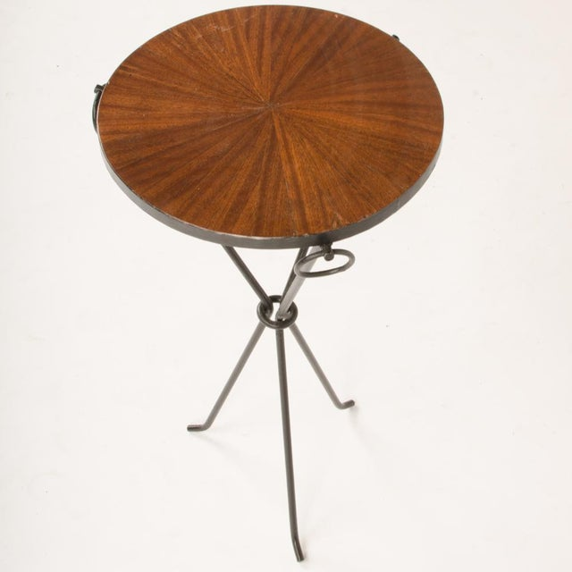 Contemporary Wrought Iron Drink Tables With Parquet Tops in the Manner of Jean-Michel Frank - a Pair For Sale In Philadelphia - Image 6 of 8