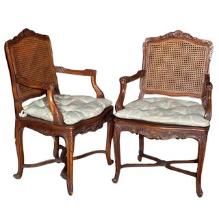 Pair of French Provincial Caned Armchairs For Sale