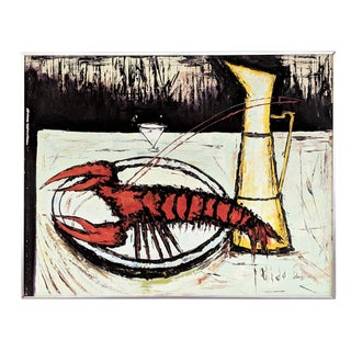 1960s Vintage Abstract Lobster Oil on Canvas Painting For Sale