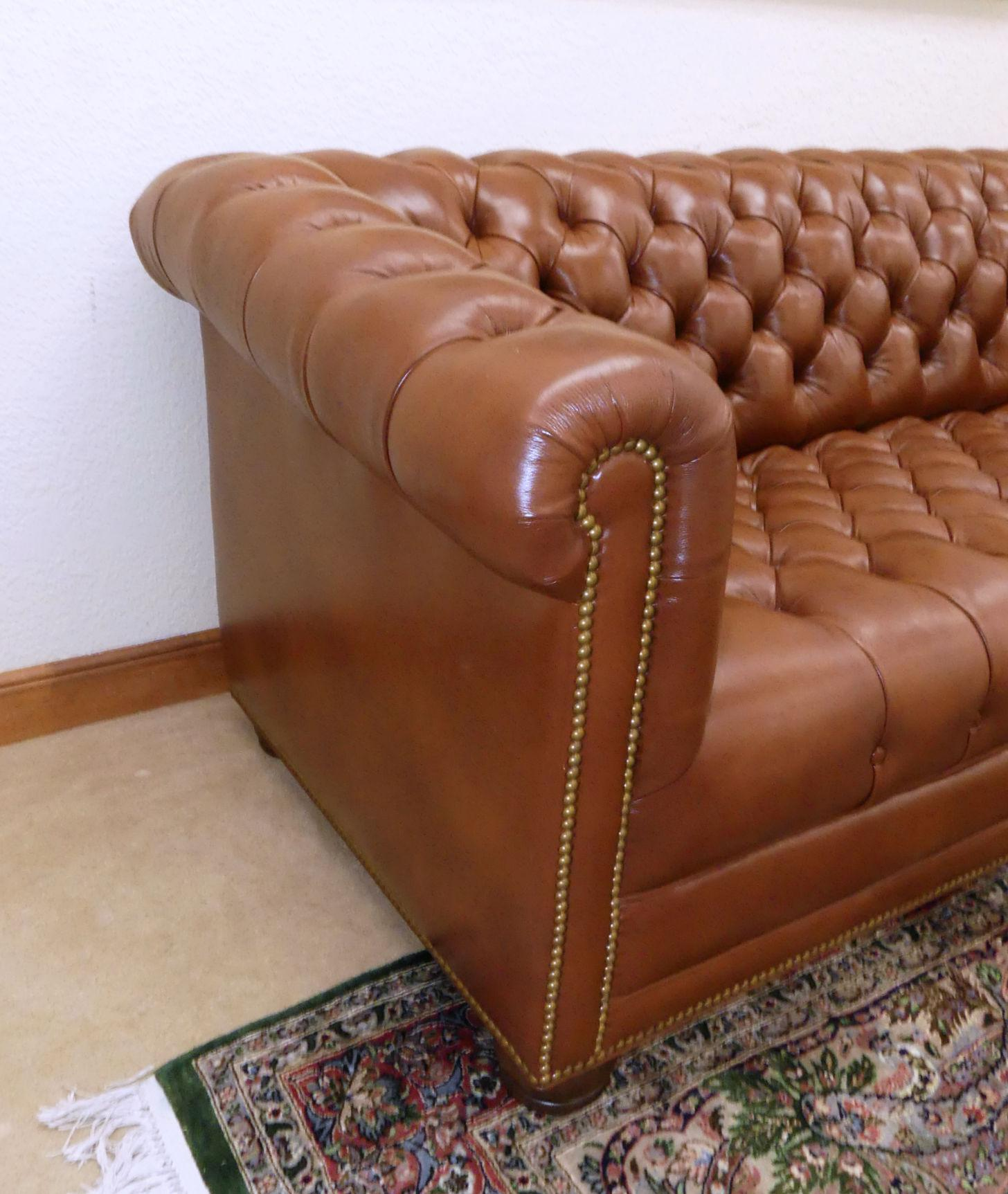 Hancock Moore Tufted Leather Chesterfield Sofa Chairish