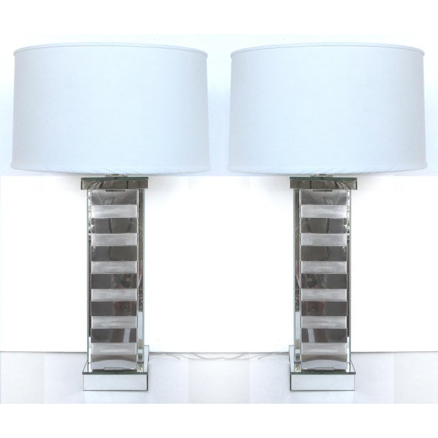 Mid-Century Steel & Glass Table Lamps - A Pair - Image 2 of 10