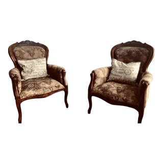 Louis XV-Style Bergères Armchairs - a Pair For Sale