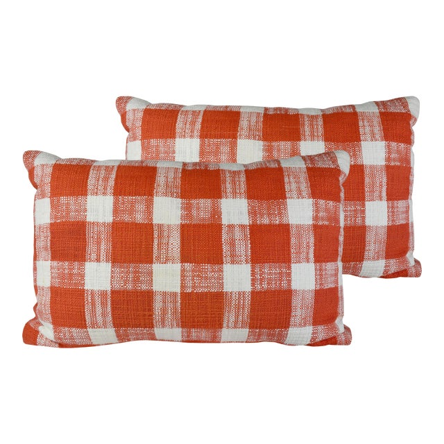 French Country Red White Gingham Pattern Cotton Throw/Toss Pillows - Set of 2 For Sale