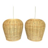 Image of Boho Chic Rattan Wicker Pendants - a Pair For Sale