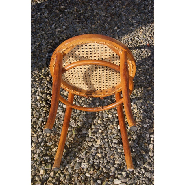 Brown 1940s Antique Thonet-Style Bentwood Heavy Cane Woven Seat Parlor Bistro Chairs - Set of 4 For Sale - Image 8 of 13