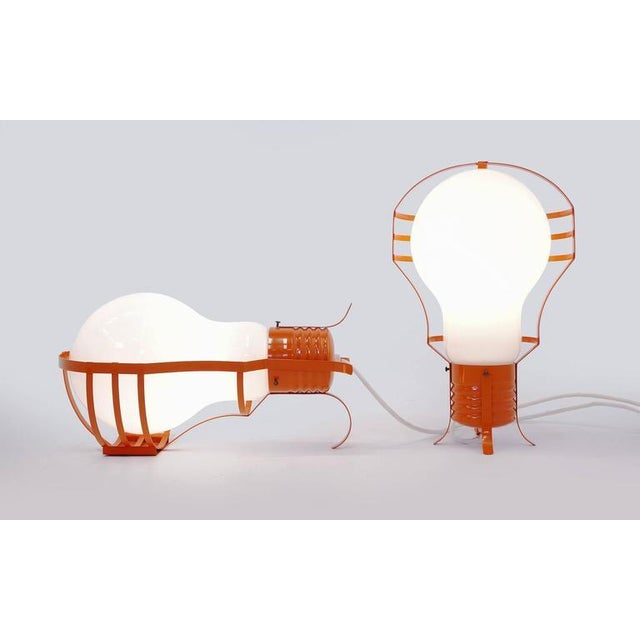 1960s Pair of Oversized Pop Art Mod Light Bulb Table or Hanging Lamps, Orange Frames For Sale - Image 5 of 9
