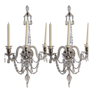Baccarat Style Three Arm Crystal Wall Sconces - A Pair For Sale