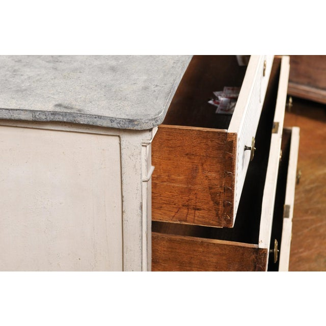 White Belgian 1850s Gustavian Style Three-Drawer Painted Commode with Faux-Marble Top For Sale - Image 8 of 13