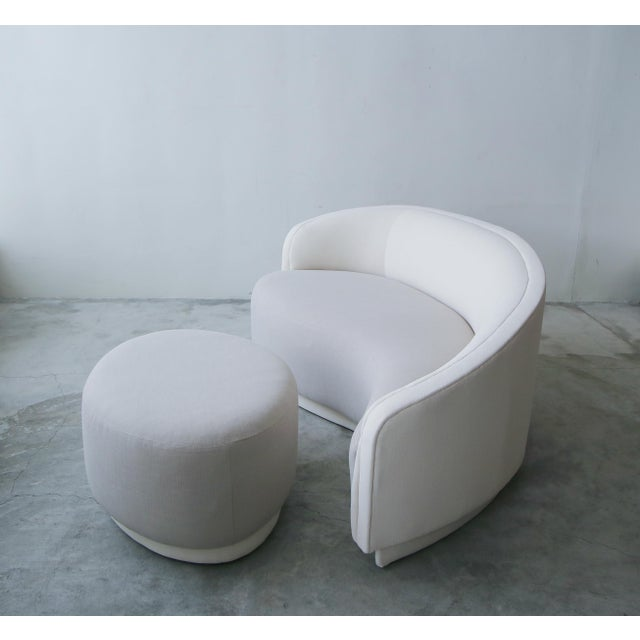 Mid-Century Modern Petite Curved Sofa & Ottoman by Vladimir Kagan for Weiman For Sale - Image 3 of 10