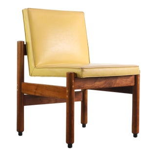 Minimalist Thonet Walnut Chair in the Original Yellow Upholsterey, USA For Sale