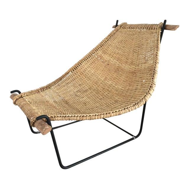 Vintage Mid Century John Risley Rattan & Iron Lounge Chair For Sale