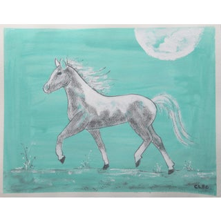 Chinoiserie Piebald Horse Painting by Cleo Plowden For Sale