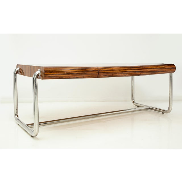 Mid-Century Modern Pace Collection Executive Desk in Macassar and Chrome For Sale - Image 3 of 13