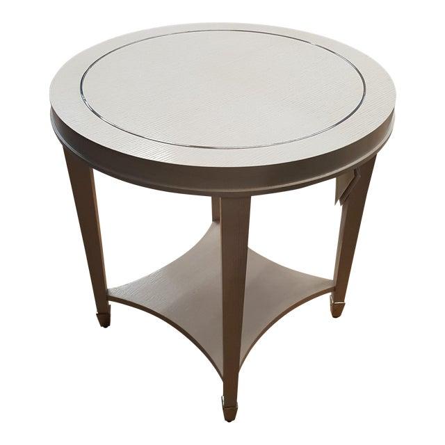 bernhardt white round end table chairish. Black Bedroom Furniture Sets. Home Design Ideas