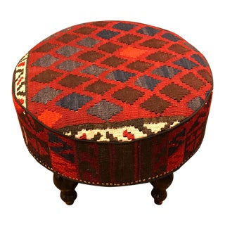 Hand-Made Custom Kilim Stool/Ottoman For Sale