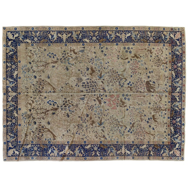 Antique Tabriz Pictorial Wool Rug - 9′4″ × 12′4″ For Sale - Image 11 of 11