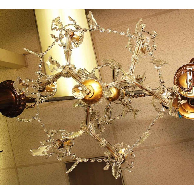 Beautiful six light Marie Therese style crystal chandelier.