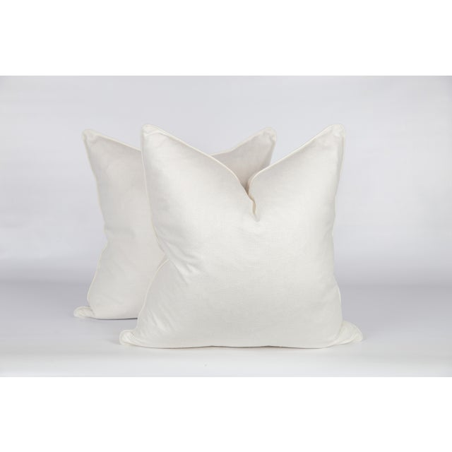 Not Yet Made - Made To Order Blue and Ivory Peony Blossom Pillows - a Pair For Sale - Image 5 of 6