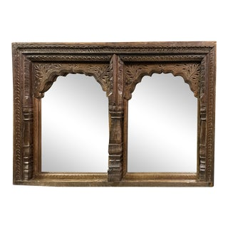 Vintage Hand Carved Jharokha Wall Mirror For Sale