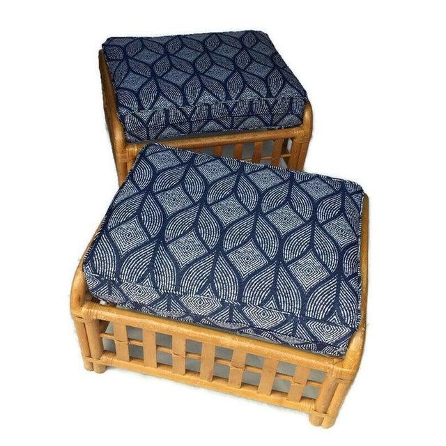 Vintage Bamboo Ottoman PAIR, Split Bamboo Low Stools / Footstools. Large Matching Bamboo Pair. Fabulous Bamboo Ottoman...