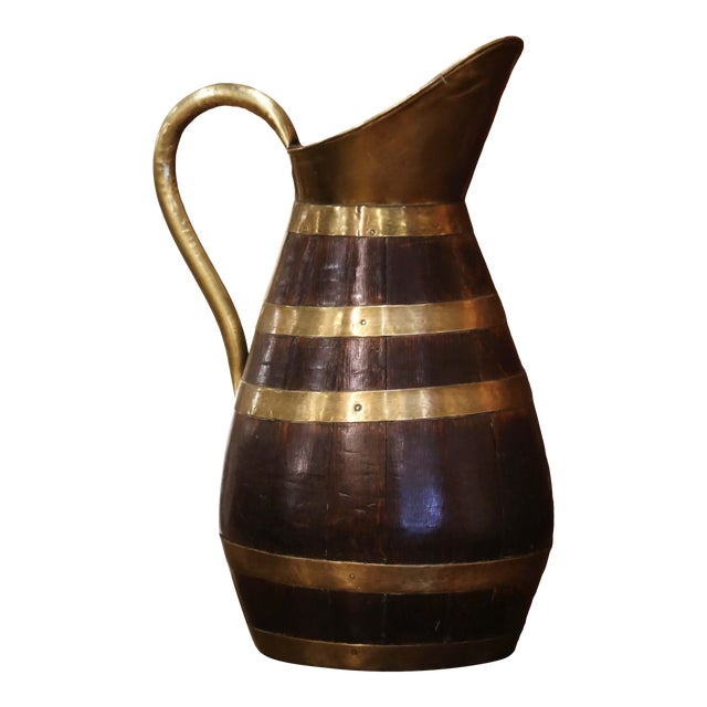 19th Century French Oak and Brass Banded Cider Pitcher Jug From Normandy For Sale