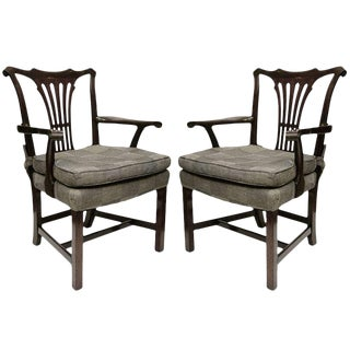 1950s Georgian Style Mahogany Arm Chairs - a Pair For Sale