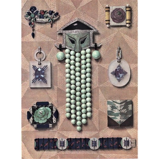 1920s Matted Iconic French Art Deco Jewelry Lithograph For Sale - Image 5 of 5
