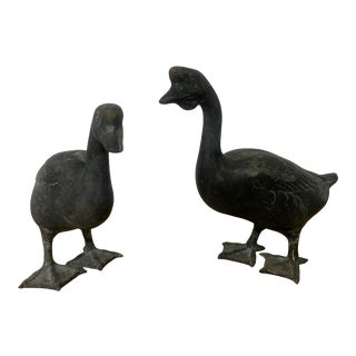 Cast Metal Goose and Gander Figurines - a Pair For Sale