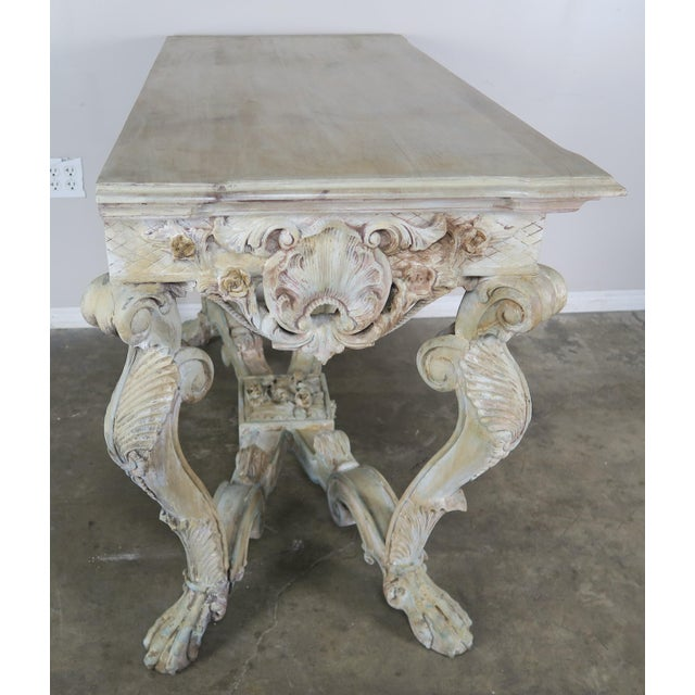 Early 20th Century French Carved Painted Console Table For Sale - Image 10 of 12