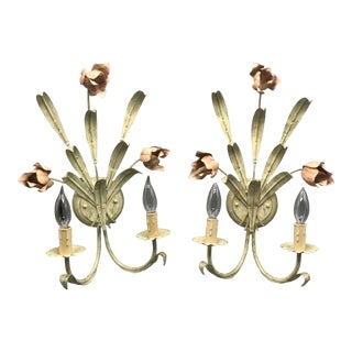 Italian Floral Wall Sconces - a Pair For Sale