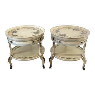 Union National French Style Hand Painted 2-Tier Nightstand/Side Tables