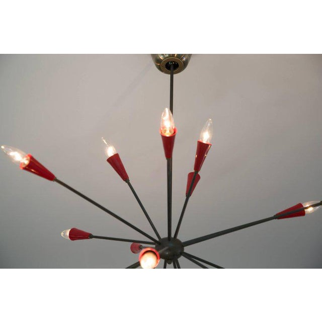 Stilnovo Italian Red Stilnovo Style Seventeen-Light Sputnik Chandelier, Circa 1950 For Sale - Image 4 of 11