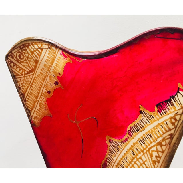 African Tribal Art Parchment Wall Shade Sconces in Red and Tan - a Pair For Sale - Image 9 of 13