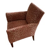 Image of 1940s Vintage Chair in New Thibaut Red Leopard Print For Sale