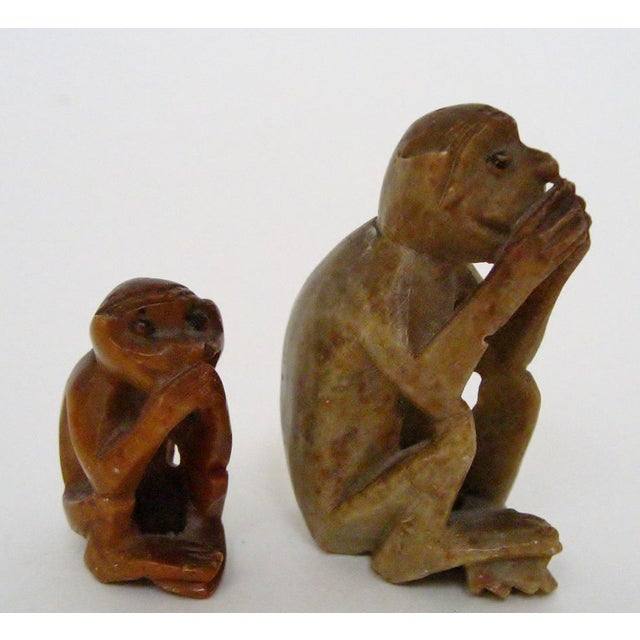 Rustic Carved Stone Monkeys - A Pair For Sale - Image 3 of 6